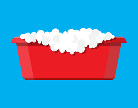 Red plastic basin with soap suds. Bowl with water. Washing clothes, cleaning equipment. Vector illustration in flat style Illustration