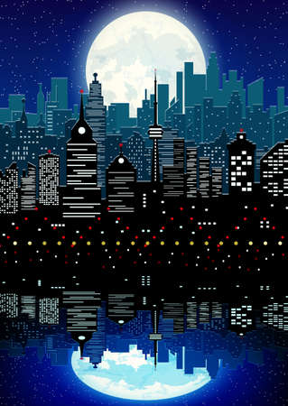 Silhouette of the city with cloudy night sky, stars and full moon and reflection in water. Vector illustration Illustration