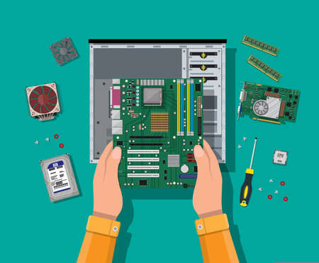 Hands with motherboard, hard drive, cpu, fan, graphic card, memory, screwdriver and case. Assembling PC. Personal computer hardware. Vector illustration in flat style