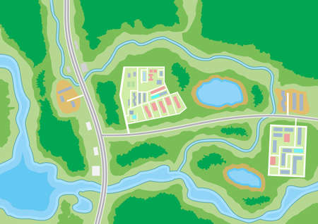 lake district: Abstract generic suburban city map with roads, buildings, parks, river, lake. GPS, navigation. Vector illustration in flat design