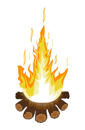 Burning bonfire or campfire. Logs and fire. Vector illustration in flat style Illustration