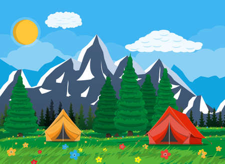 Meadow with grass and camping. Tents, flowers, mountains, trees, sky, sun and clouds. Vector illustration in flat style Illustration