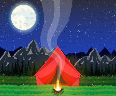 Meadow with grass and camping in night. Tent, bonfire, flowers, mountains, trees, sky, moon and stars. Vector illustration in flat style Illustration