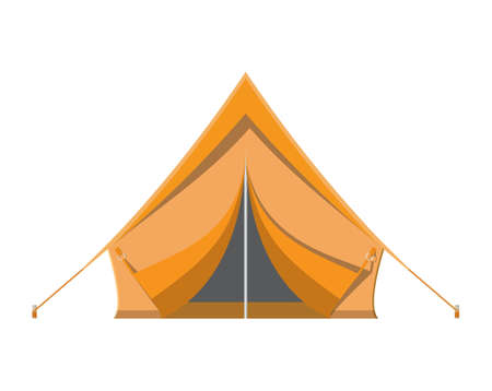 Camping tent. Tourism, travel, vacation and sport. Vector illustration in flat style Illustration