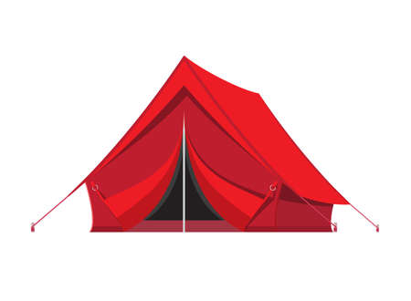 mountaineering: Camping tent. Tourism, travel, vacation and sport. Vector illustration in flat style Illustration