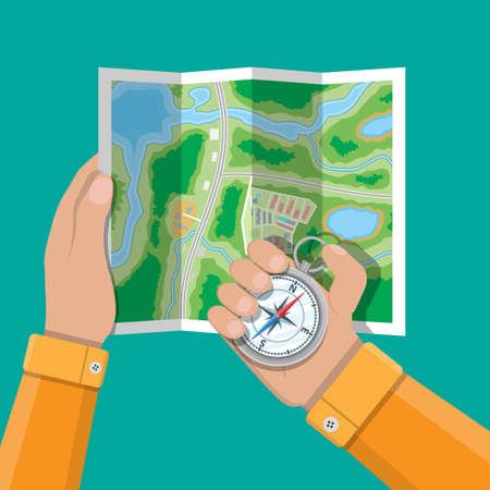 Folded paper city suburban map and compass in hands. Abstract generic map with roads, buildings, parks, river, lake. GPS and navigation. Vector illustration in flat style