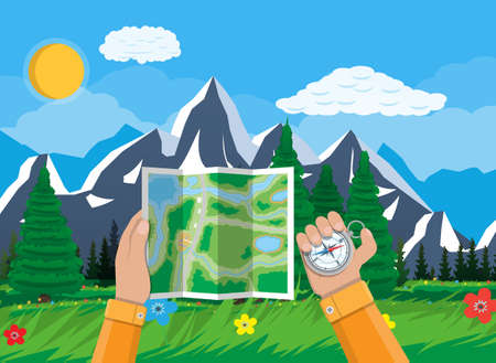 lake district: Folded paper city suburban map and compass in hands. Abstract generic map. GPS and navigation. Nature landscape with mountains and forest. Vector illustration in flat style Illustration