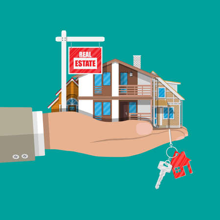 suburban: Suburban family house set and for sale placard Illustration