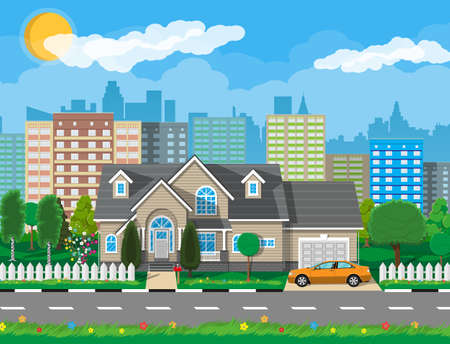 Private suburban house with car