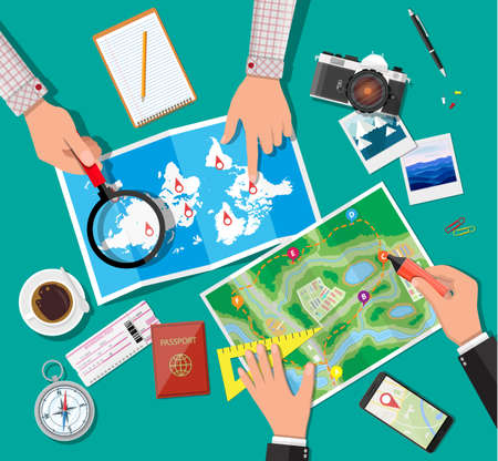 Table with paper map. Planning trip Illustration