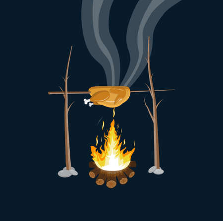 Bonfire with grilled chicken. Logs and fire. Camping, burning woodpile in night. Vector illustration in flat style Illustration