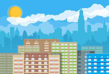 City skyline silhouette at day. Skyscappers, towers, office and residental buildings. Sky, clouds and sun. Vector illustration