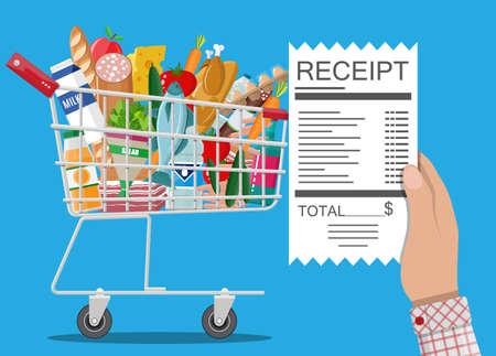 Hand mit Quittung Einkaufswagen mit Essen und Getränken. Vektor-Illustration in flachen Stil Standard-Bild - 75109139