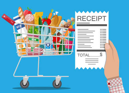 Hand with receipt. Shopping cart with food and drinks. Vector illustration in flat style Illustration