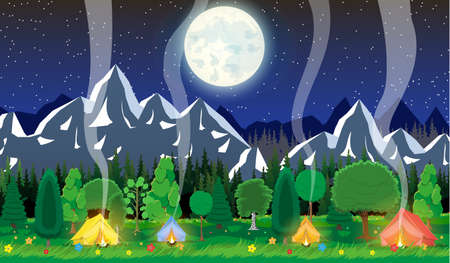 Meadow with grass and camping in night. Tent, bonfire, flowers, mountains, trees, sky, moon and stars. Vector illustration in flat style Ilustração
