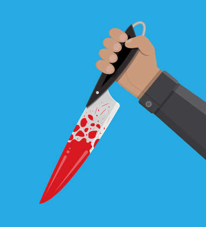 Hand holding a bloody knife. Vector illustration in flat style Illustration