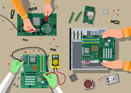 Components for personal computer. Service, recovery, warranty, fixing. Assembling PC. Computer hardware. Vector illustration in flat style Illustration