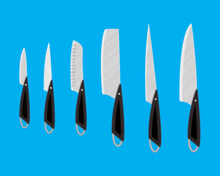 Set of kitchen knives for various products. Vector illustration in flat style