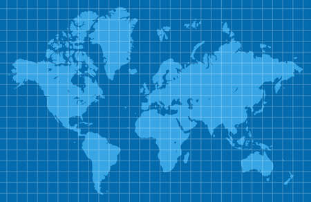 Blue world map. Cartography and geography. Vector illustration Illustration