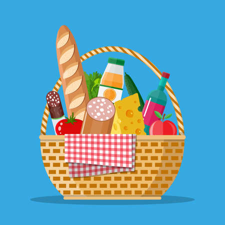 WIcker picnic basket full of products. Illustration