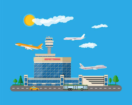 Airport control tower, terminal building Illustration