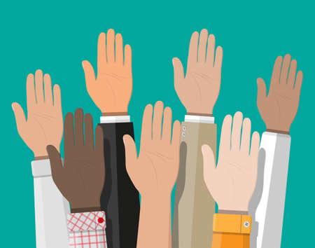 Raised up hands. People vote hands. Illustration