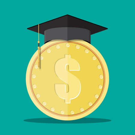 online degree: Graduation cap and gold coin. Education savings and investmet concept. Vector illustration in flat design.