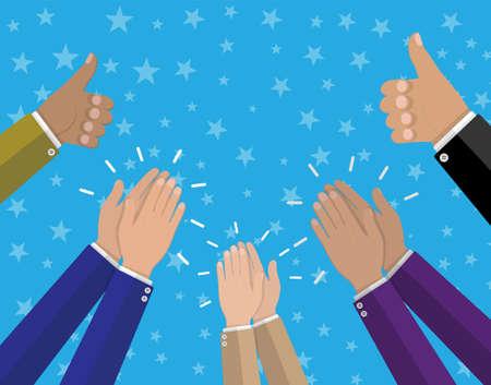 Las manos humanas aplaudiendo. Aplauda las manos y mantenga los pulgares hacia arriba. Ilustración vectorial en estilo plano Foto de archivo - 78710691