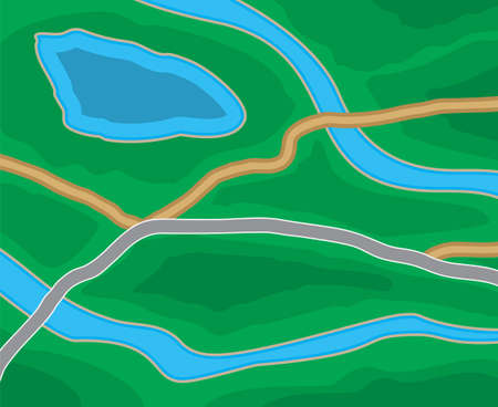 lake district: Abstract generic suburban city map with roads, parks, river, lake. GPS, navigation. Vector illustration in flat design