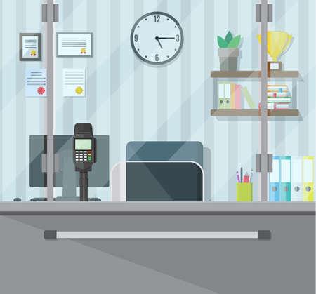 Bank teller workplace Vetores