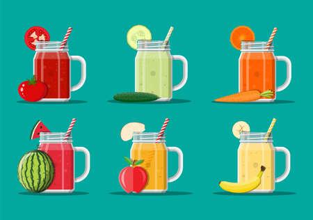 Conjunto de verduras frescas y jugo de frutas.