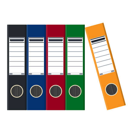 Files, ring binders, colorful office folders. Side view. Vector flat illustration in flat style