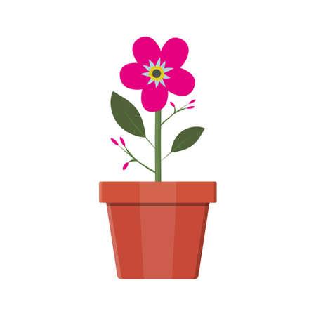 potting soil: Flower plant in flower pot. Decoration home plant. Vector illustration in flat style