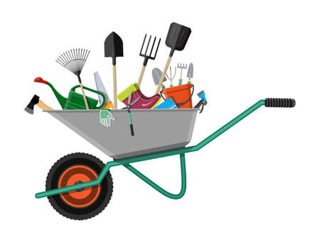 Gardening tools set. Equipment for garden