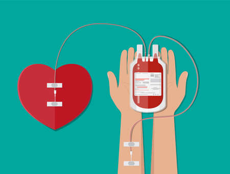 Blood bag and hand of donor with heart Illustration