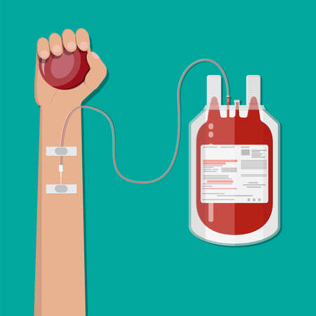 Blood bag and hand of donor