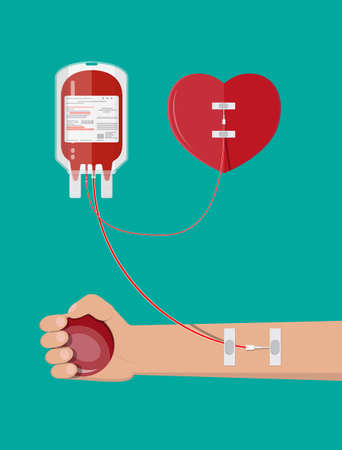 Blood bag, heart and hand of donor with ball. Blood donation day concept. Human donates blood. Vector illustration in flat style. Illustration