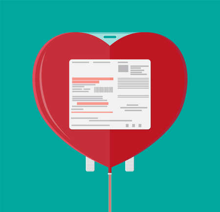 Blood bag in heart shape. Blood donation day concept. Human donates blood. Vector illustration in flat style.