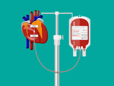 Blood bag and heart at holder. Blood donation day concept. Human donates blood. Vector illustration in flat style. Illustration