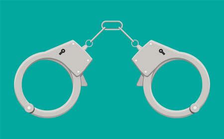 Modern metal handcuffs. Ilustrace