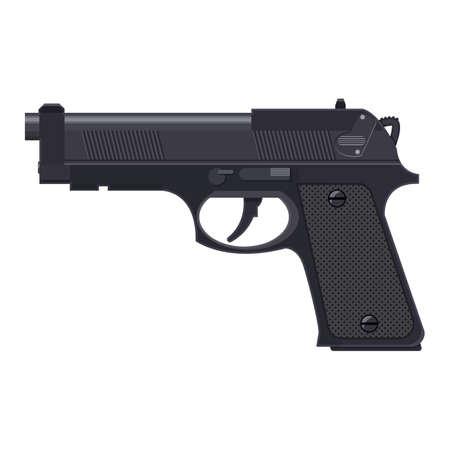 browning: Pistol gun, automatic modern handgun. Illustration