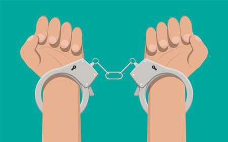 Modern metal handcuffs. Stock Photo
