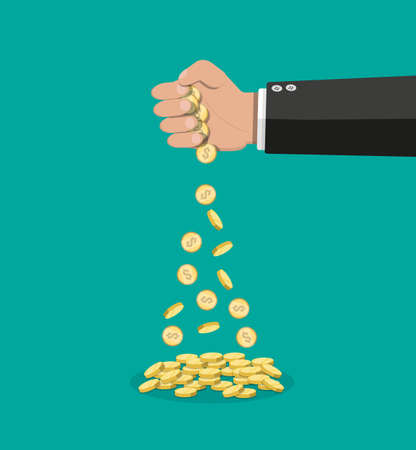 Cartoon businessman hand losing golden coins. Losing money or overspending. Vector illustration in flat style