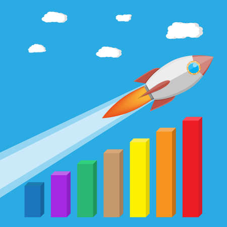 Rocket flying up on growth chart. Graph that shows increase in sales. Business success. Vector illustration in flat style