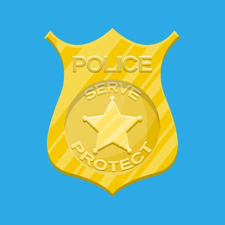 Police officer badge. Gold shiny emblem. Vector illustration in flat style Illustration