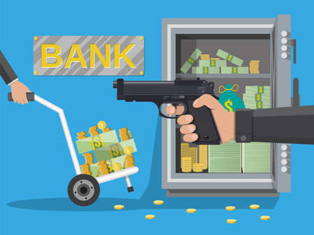 Hand of thief holding pistol in bank Illustration