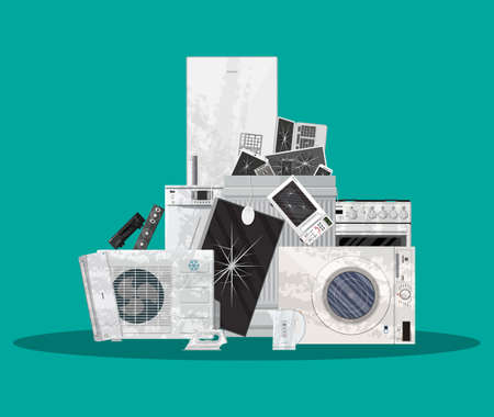 E-waste electrical and electronic equipment pile Illustration