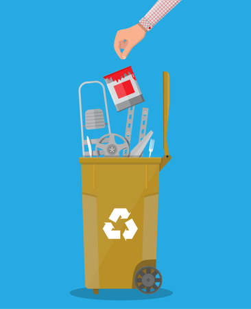 Trash recycle bin for garbage full of metal things