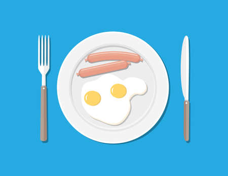 cooked meat: Plate, fork and knife. Eggs and sausages Stock Photo