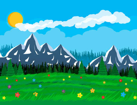 Summer nature landscape with mountains, forest, grass, flower, sky, sun and clouds. National park in flat style